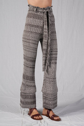 Shop Emerging Slow Fashion Conscious Conceptual Brand Cora Bellotto Grey Melange Rib Knit Jazz Pants at Erebus