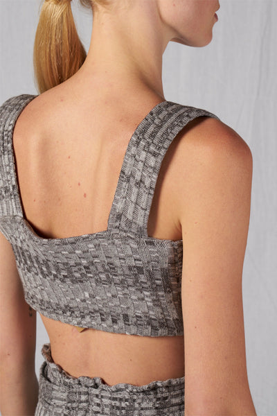 Shop Emerging Slow Fashion Conscious Conceptual Brand Cora Bellotto Grey Melange Rib Knit Jazz Crop Top at Erebus