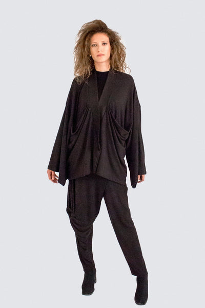 Shop Emerging Slow Fashion Womenswear Brand CLON8 Black Manic Monday Kaftan at Erebus