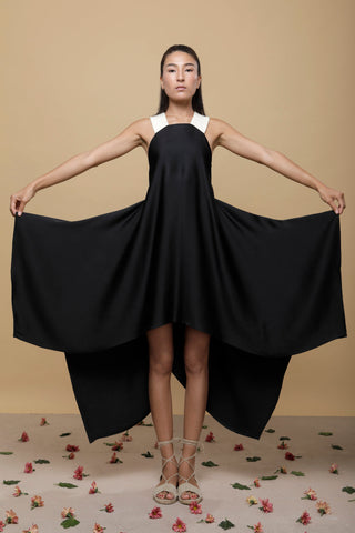 Shop Emerging Slow Fashion Conscious Conceptual Brand Cora Bellotto Black Silk and Ivory Hemp Lapis Dress at Erebus