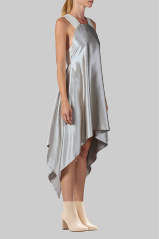 Shop Emerging Slow Fashion Conscious Conceptual Brand Cora Bellotto Zero Waste Clay Silk and Ivory Hemp Lapis Dress at Erebus