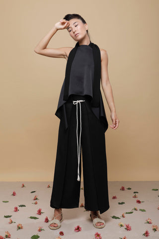 Shop Emerging Slow Fashion Conscious Conceptual Brand Cora Bellotto Black Silk and Ivory Hemp Rope Lapis Pants at Erebus