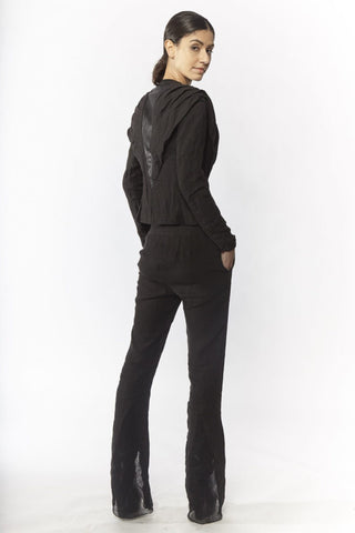 Shop Emerging Slow Fashion Avant-garde Designer Oxana Cowen Black Flared Linen Trousers at Erebus