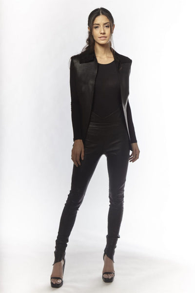 Shop Emerging Slow Fashion Avant-garde Designer Oxana Cowen Black Leather Shearling Waistcoat at Erebus