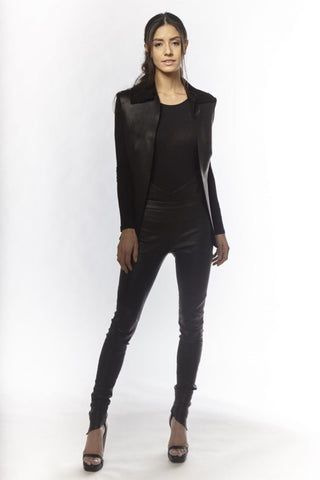 Shop Emerging Slow Fashion Avant-garde Designer Oxana Cowen Black Pointy Stretch Lamb Leather Leggings at Erebus