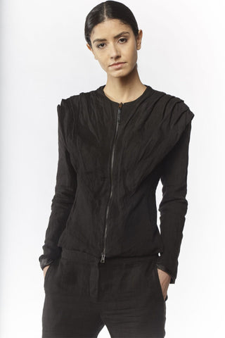 Shop Emerging Slow Fashion Avant-garde Designer Oxana Cowen Black Draped Linen Leather at Erebus