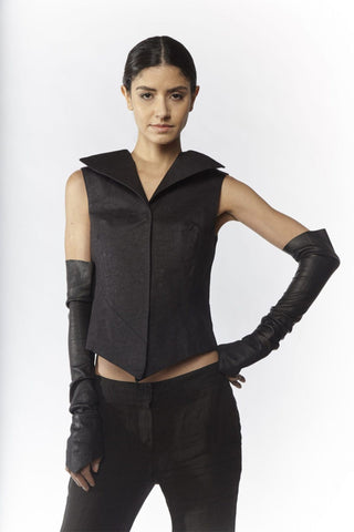 Shop Emerging Slow Fashion Avant-garde Designer Oxana Cowen Black Asymmetric Vegan Tree Bark Waistcoat at Erebus