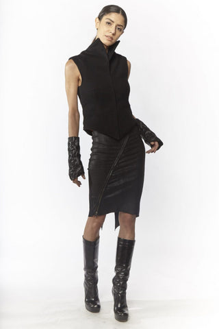 Shop Emerging Slow Fashion Avant-garde Designer Oxana Cowen Black Fitted Wool High Collar Waistcoat at Erebus