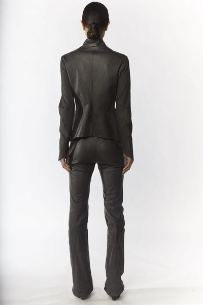Shop Emerging Slow Fashion Avant-garde Designer Oxana Cowen Dark Grey Flared Leather Trousers at Erebus