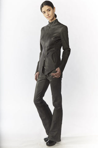 Shop Emerging Slow Fashion Avant-garde Designer Oxana Cowen Dark Grey Fitted Panelled Asymmetric Leather Jacket at Erebus