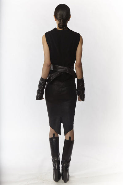 Shop Emerging Slow Fashion Avant-garde Designer Oxana Cowen Black Crinkled Leather and Wool Draped Short Sleeve at Erebus