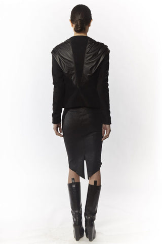 Shop Emerging Slow Fashion Avant-garde Designer Oxana Cowen Black Draped Wool and Leather Jacket at Erebus