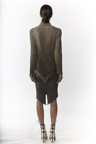 Shop Emerging Slow Fashion Avant-garde Designer Oxana Cowen Grey Lamb Leather and Silk Chiffon Fitted Pointy Jacket at Erebus