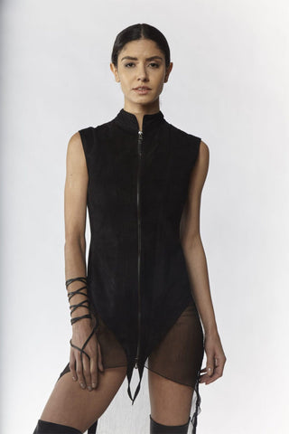 Shop Emerging Slow Fashion Avant-garde Designer Oxana Cowen Black Suede And Silk Chiffon Tailored Long Waistcoat at Erebus