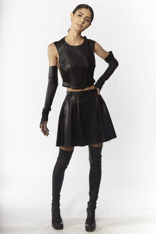 Shop Emerging Slow Fashion Avant-garde Designer Oxana Cowen Black Lamb Leather and Salmon Leather Skater Skirt at Erebus