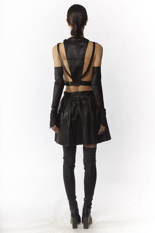 Shop Emerging Slow Fashion Avant-garde Designer Oxana Cowen Black Lamb Leather and Salmon Leather Cut Out Cropped Top at Erebus