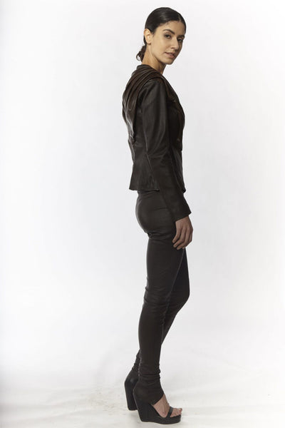 Shop Emerging Slow Fashion Avant-garde Designer Oxana Cowen Brown Draped Leather Jacket at Erebus