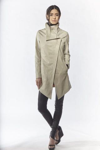 Shop Emerging Slow Fashion Avant-garde Designer Oxana Cowen Light Grey Asymmetric Leather Coat at Erebus