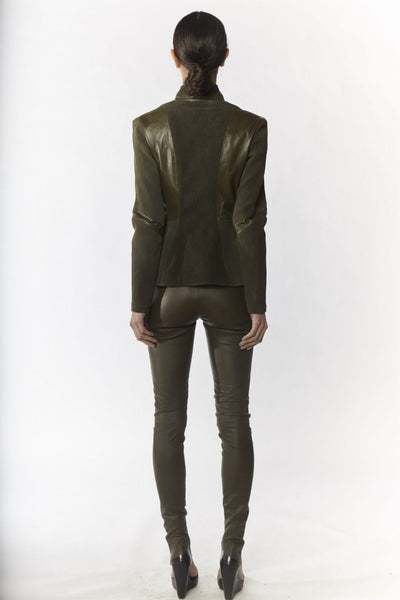 Shop Emerging Slow Fashion Avant-garde Designer Oxana Cowen Olive Pointy Stretch Lamb Leather Leggings at Erebus