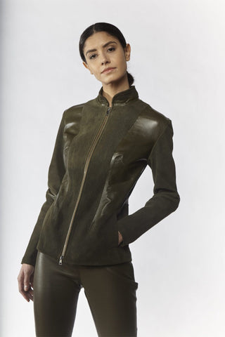 Shop Emerging Slow Fashion Avant-garde Designer Oxana Cowen Olive Panelled Washed Stretch Leather Jacket at Erebus