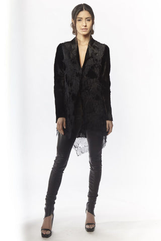 Shop Emerging Slow Fashion Avant-garde Designer Oxana Cowen Black Leather And Silk Chiffon Kangaroo Blazer at Erebus
