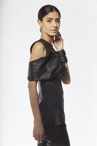 Shop Emerging Slow Fashion Avant-garde Designer Oxana Cowen Black Draped Stretch Lamb Leather Asymmetric Top at Erebus