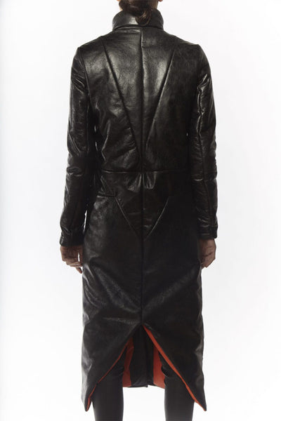 Shop Emerging Slow Fashion Avant-garde Designer Oxana Cowen Black and Blood Orange Reversible Leather Raincoat at Erebus