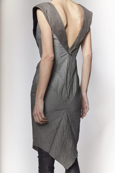 Shop Emerging Slow Fashion Avant-garde Designer Oxana Cowen Grey Calf Leather, Salmon Leather and Silk Chiffon Pointy Fitted Stretch Dress at Erebus
