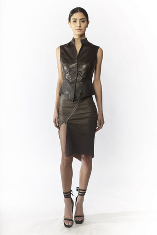 Shop Emerging Slow Fashion Avant-garde Designer Oxana Cowen Aubergine and Dark Grey Asymmetric Fitted Leather and Silk Chiffon Waistcoat at Erebus