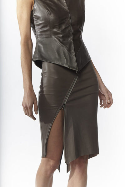 Shop Emerging Slow Fashion Avant-garde Designer Oxana Cowen Grey Fitted Asymmetric Stretch Lamb Leather Skirt with Zip at Erebus