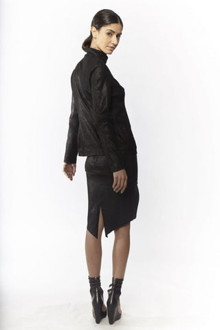 Shop Emerging Slow Fashion Avant-garde Designer Oxana Cowen Black Panelled Stretch Leather Jacket at Erebus