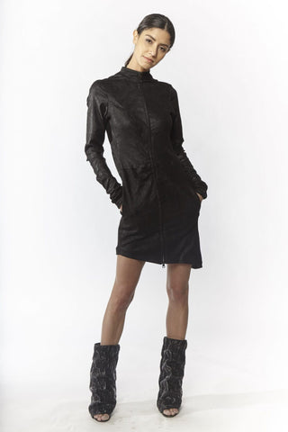 Shop Emerging Slow Fashion Avant-garde Designer Oxana Cowen Black Panelled Stretch Leather Long Sleeve Dress at Erebus