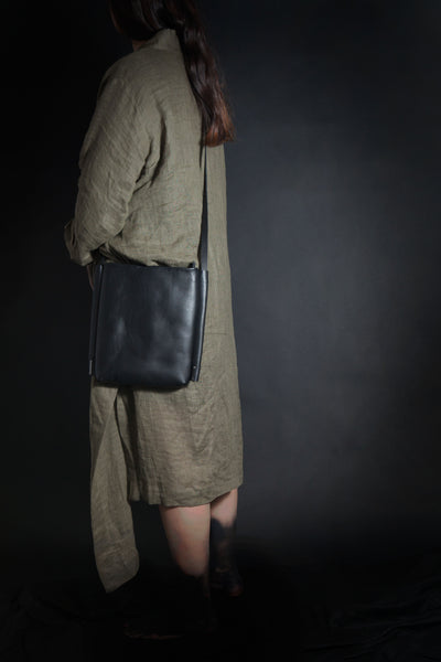 Shop Emerging Conscious Avant-garde Designer Brand MDK Miranda Kaloudis Black Leather Aplos Bag at Erebus