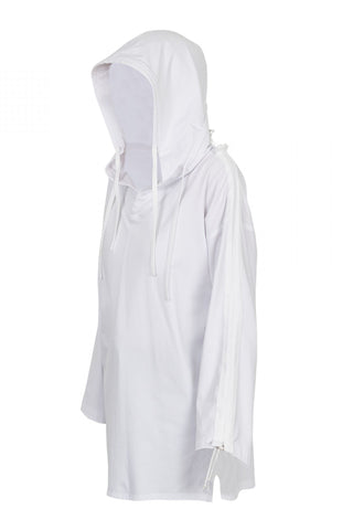 Shop Emerging Unisex Street Brand Monochrome White Cotton Jersey Hooded Kimono Shirt at Erebus