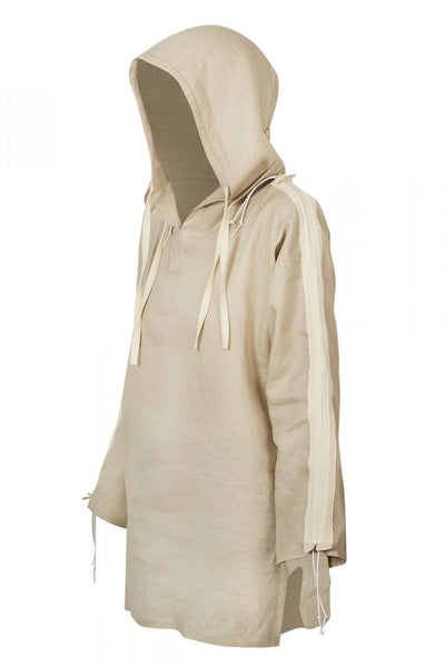 Shop Emerging Unisex Street Brand Monochrome Beige Organic Linen Hooded Kimono Shirt at Erebus