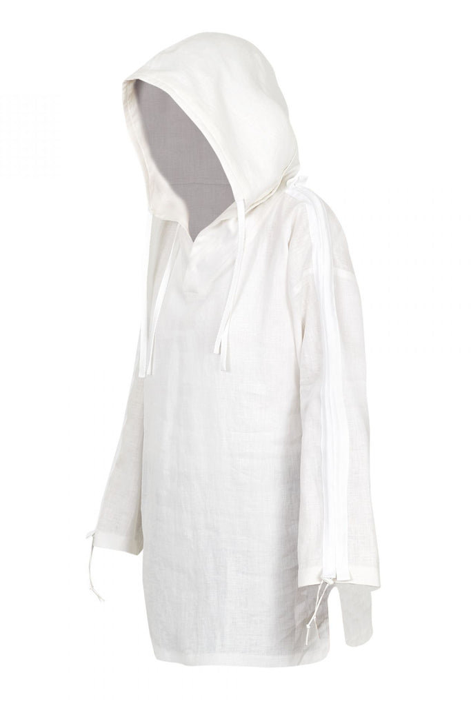 Shop Emerging Unisex Street Brand Monochrome White Organic Linen Hooded Kimono Shirt at Erebus