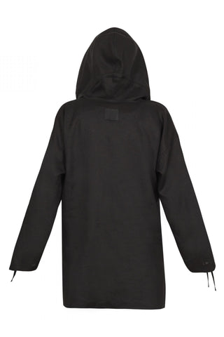 Shop Emerging Unisex Street Brand Monochrome Black Organic Linen Hooded Kimono Shirt at Erebus