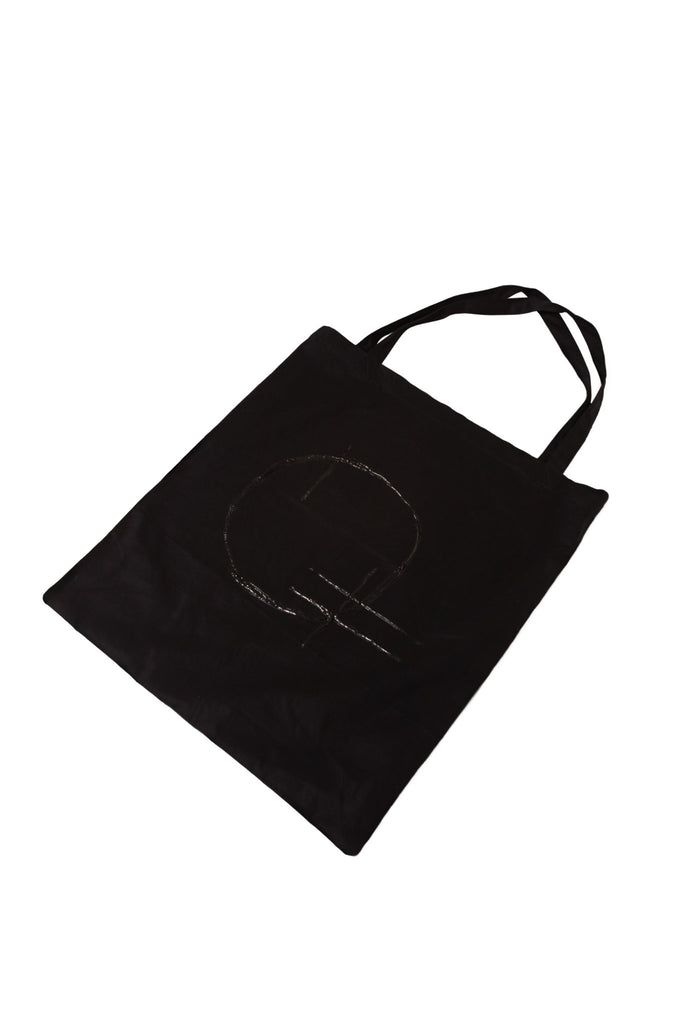 Shop Emerging Slow Fashion Genderless Avant-garde Designer Mark Baigent UNITAS Collection Black Cotton Moon Bag at Erebus