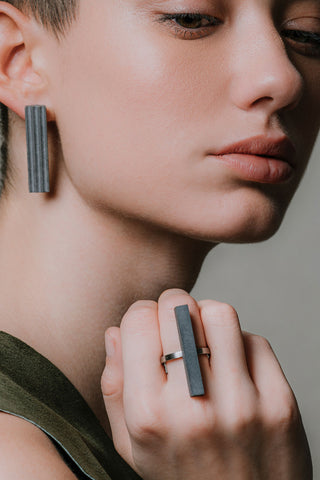 Shop Emerging Slow Fashion Brutalist Minimalist Utilitarian Avant-garde Designer MORF Stainless Steel and Concrete Dark Grey Blok 27 Ring at Erebus