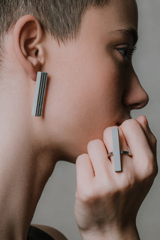Shop Emerging Slow Fashion Brutalist Minimalist Utilitarian Avant-garde Designer MORF Stainless Steel and Concrete Grey Blok 27 Ring at Erebus