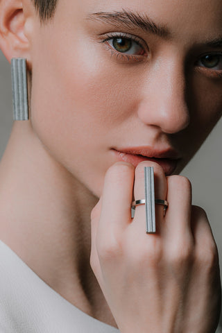 Shop Emerging Slow Fashion Brutalist Minimalist Utilitarian Avant-garde Designer MORF Stainless Steel and Concrete Grey Blok 36 Ring at Erebus