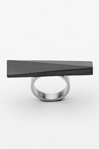 Shop Emerging Slow Fashion Brutalist Minimalist Utilitarian Avant-garde Designer MORF Stainless Steel and Concrete Dark Grey Blok 46 Ring at Erebus