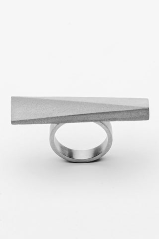 Shop Emerging Slow Fashion Brutalist Minimalist Utilitarian Avant-garde Designer MORF Stainless Steel and Concrete Grey Blok 46 Ring at Erebus
