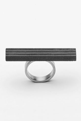 Shop Emerging Slow Fashion Brutalist Minimalist Utilitarian Avant-garde Designer MORF Stainless Steel and Concrete Dark Grey Blok 47 Ring at Erebus