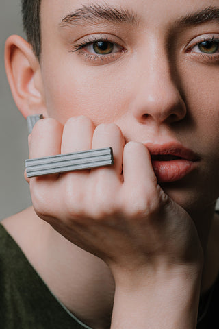 Shop Emerging Slow Fashion Brutalist Minimalist Utilitarian Avant-garde Designer MORF Stainless Steel and Concrete Grey Blok 47 Ring at Erebus