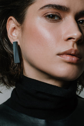 Shop Emerging Slow Fashion Brutalist Minimalist Utilitarian Avant-garde Designer MORF Stainless Steel and Concrete Dark Grey Blok 48 Earrings at Erebus