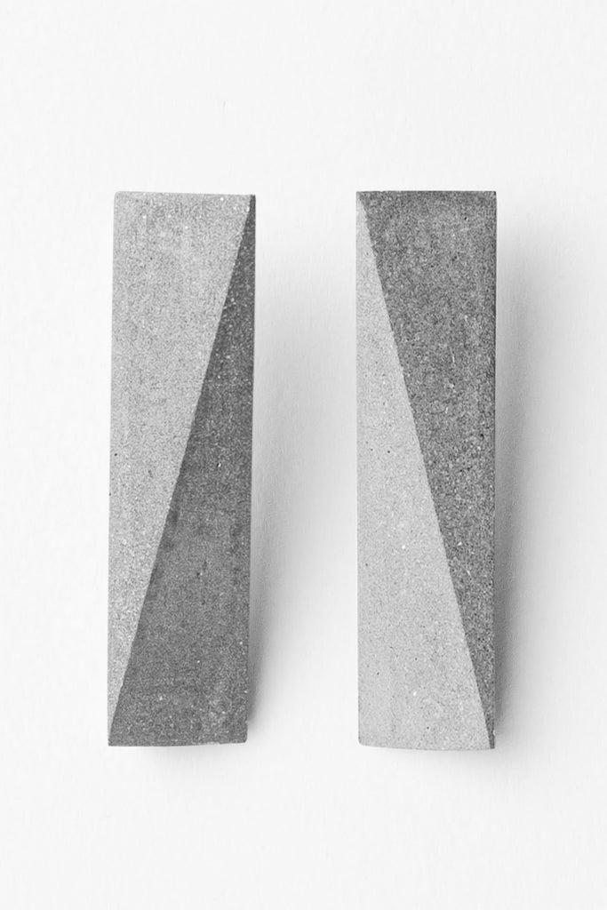 Shop Emerging Slow Fashion Brutalist Minimalist Utilitarian Avant-garde Designer MORF Stainless Steel and Concrete Grey Blok 48 Earrings at Erebus