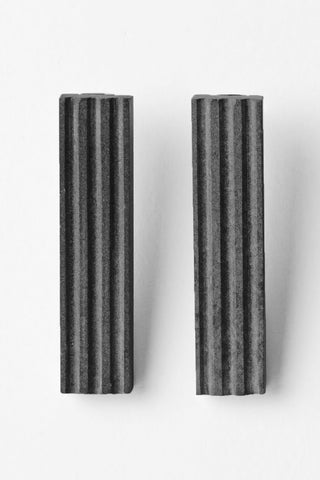 Shop Emerging Slow Fashion Brutalist Minimalist Utilitarian Avant-garde Designer MORF Stainless Steel and Concrete Dark Grey Blok 50 Earrings at Erebus