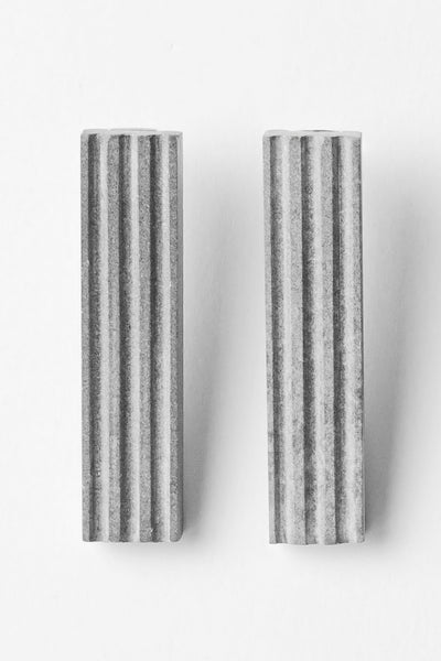 Shop Emerging Slow Fashion Brutalist Minimalist Utilitarian Avant-garde Designer MORF Stainless Steel and Concrete Grey Blok 50 Earrings at Erebus