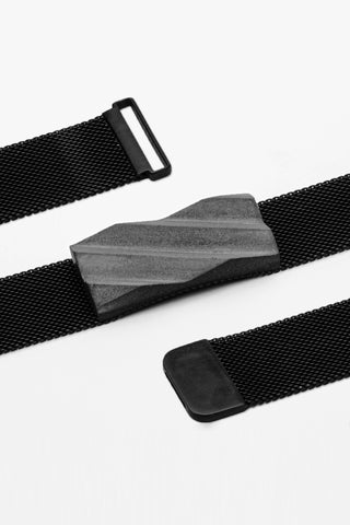 Shop Emerging Slow Fashion Brutalist Minimalist Utilitarian Avant-garde Designer MORF Stainless Steel and Concrete Dark Grey Blok 54 Choker at Erebus